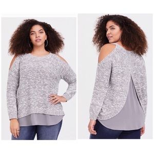 Torrid Light Gray Cold Shoulder Knit Blouse Top